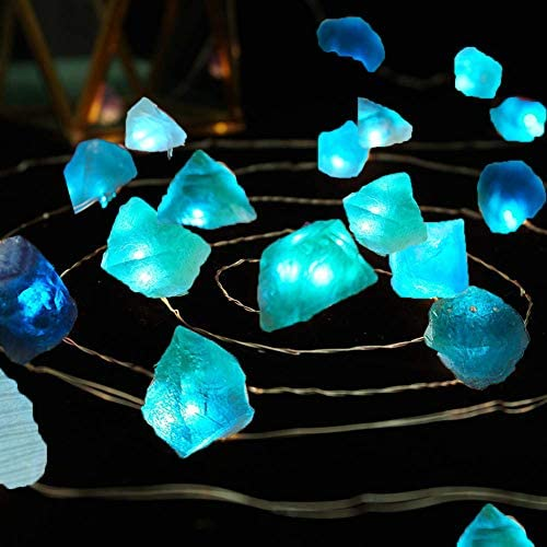 Sea Glass Raw Crystal Stones LED String Lights - Halloween Decor