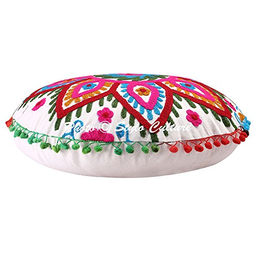 Cotton Round Gaddi Floor Cushion Cover - BohoEntice