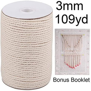 Macrame Cord 3mm x 220Yards, Natural Cotton Macrame Rope, Cotton Cord for Crafts