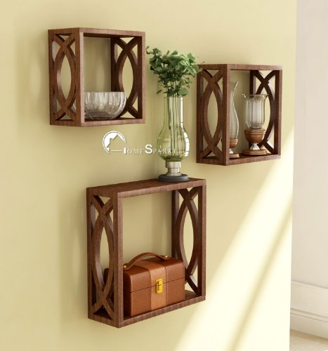Wooden Wall Shelf | Cube Design Wall Mounted Shelves for Living Room - Set of 3 - BohoEntice