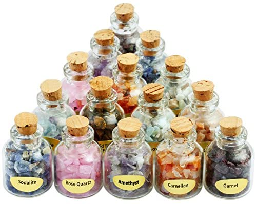 9 Mini Gemstone Bottles Chip Crystal Healing Tumbled Gem Reiki Stones Set