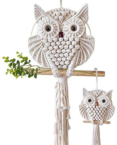 2 Pcs Owl Macrame Wall Hanging Tapestry Art Decor Handmade - BohoEntice
