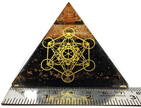 Shungite Large Orgonite Pyramid with Metatron's Cube Grid - X-Large 75mm  to Protect Against Negative Energy