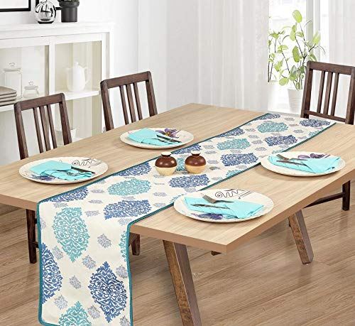 Aqua Polyester Dining Table Runners - BohoEntice