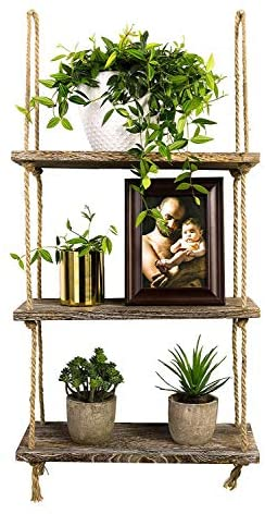 Decorative Wall Hanging Shelf, 3 Tier Jute  Rope Floating Shelves Distressed Wood
