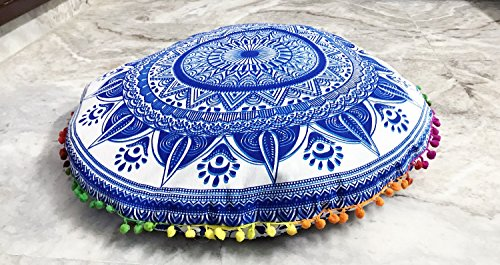 Buy Tapestry Lovers Navy Blue Diya Baati Mandala Soft Cozy Handmade Large Floor Csuhion Cover - BohoEntice