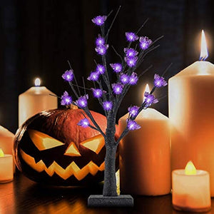 Halloween Tree 24 LED Lighted, Battery Operated Birch Tree with 24 DIY Bat, - Halloween Decoration
