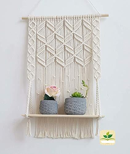 Handmade Macrame Shelf - Wall Hanging Shelf Boho Home Living Room Kitchen Decor Size : 16 inches Width, 29 inches Height