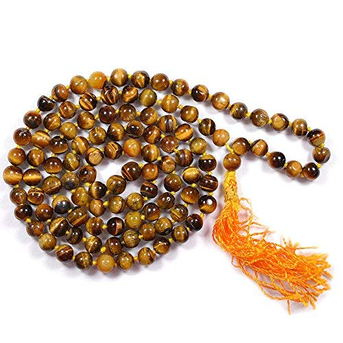 Tiger Eye 108 Bead 6 mm Brown Natural Stone Mala for Men and Women at - BohoEntice