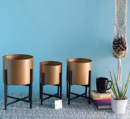 Mid Century Metal Plant Pot Set | Indoor Round Planter with Metal Stand, Garden & Outdoors, Home Decor