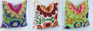 3 Pc Set Handmade Indian 100% Cotton Suzani Hand Embroidered Cushion Cover Pillow Case Pouf Cover - BohoEntice