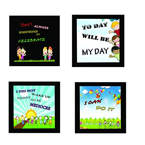 4 Piece Set of Framed Wooden Wall Hanging Motivational Office Decor Art Prints 10 X 10 Inch for Without Glass - BohoEntice