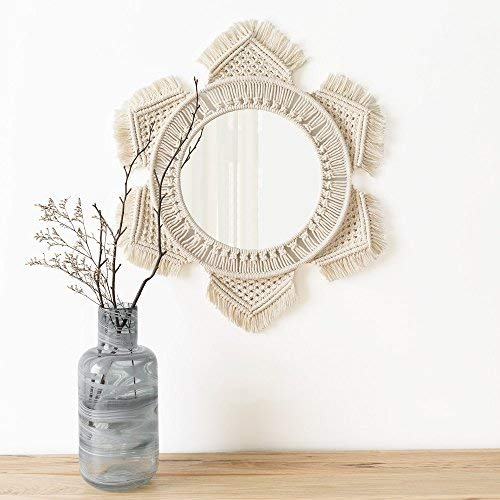 Hanging Wall Mirror with Macrame Fringe Round Mirror Art Boho Decor for Apartment - BohoEntice