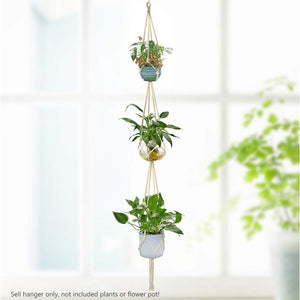 Macrame Cotton Plant Hanger | Two/Three Tier Rope Flower Pot Holder for Indoor Outdoor Balcony Garden | Home Decor Jute Hanging Basket