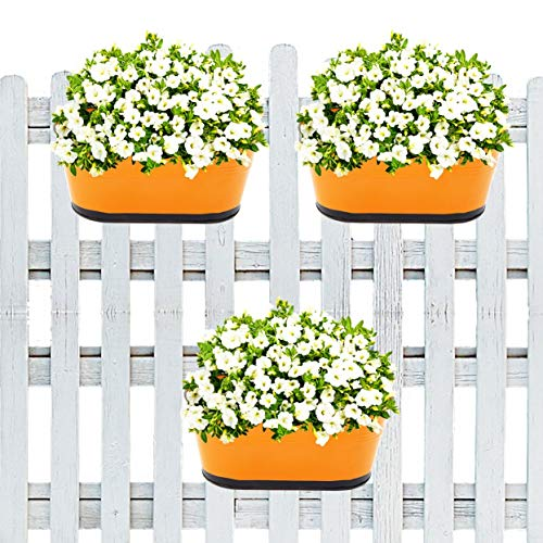 10 inches Oval Balcony Railing Planter with Detachable Handle, Multi-color : Garden & Outdoors, Home Decor