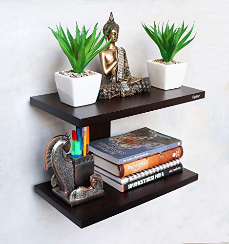 Wall Mounted Shelf Wenge Rack Decorative Display - BohoEntice