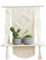 Macrame Wall Hanging Shelf - Boho Hanging Shelf, Floating Decorations - Shelf Wood Hanging Shelf Organizers Macrame Decor Boho Shelves