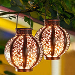 2 Pack Hanging Solar Lanterns, Garden Decor Retro - Halloween Decor