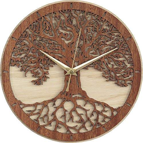 Tree of Life Decorative Housewarming Wooden Clock (11.75 inch) - - BohoEntice