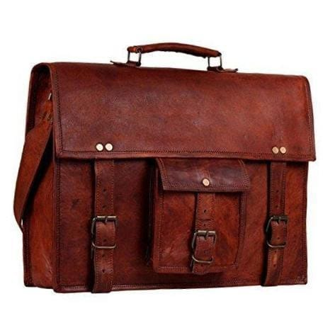 Courtney One Pocket Brown Leather Messenger Satchel