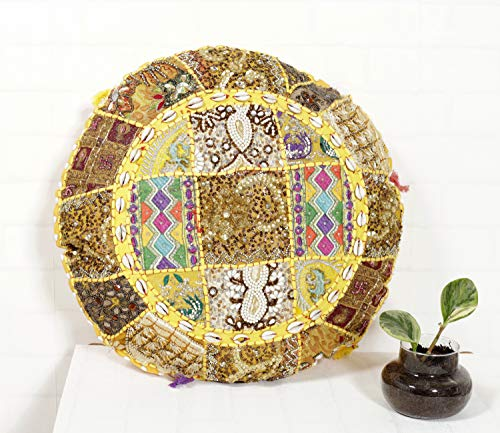 Cotton Sequin Embroidery Round Floor Pillow Cushion Cover - BohoEntice