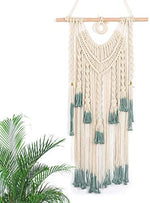 "Macrame Wall Hanging Green and Beige Woven Tapestry Boho Chic Tassels Pendant Hippie Bohemian Wall Art Bedroom Living Room Dorm Backdrop Home Decorations, 33""x 18"" (No.2): Home & Kitchen - BohoEntice"