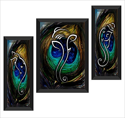 UV Textured Ganesh Modern Art Print Framed Painting Set of 3 for Home Decoration - BohoEntice