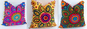 3 Pc Set Handmade Indian 100% Cotton Suzani Hand Star Embroidered Cushion Cover Pillow Case Pouf Cover - BohoEntice