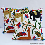 Animal Embroidered Suzani Square 16x16-inch Cotton Cushion Cover -Multicolour - BohoEntice
