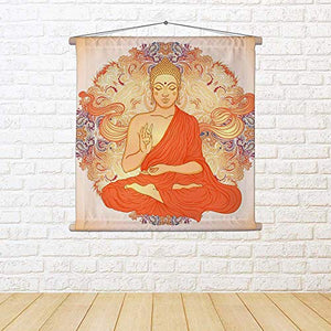 Sitting Buddha Silk Painting Tapestry Scroll Art Hanging 8 X 8Inch - BohoEntice