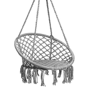 Hammock Chair Macrame Swing, Hanging Lounge Mesh Chair Durable Cotton Rope Swing - BohoEntice