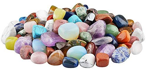 1 lb Tumbled Polished Stones Gemstone Supplies for Wicca,Reiki,Healing Crystal,Assorted Stones - BohoEntice