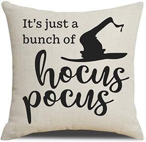 Pillow Covers Set of 4 with Halloween Decorations Quotes - 18 x 18 Inches
