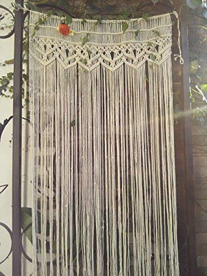 "Macrame Wall Hanging Tapestry- Macrame Door Hanging,Room divider,macrame Curtains,Window Curtain, door curtains, wedding Backdrop Arch BOHO wall decor, 33.5""W x 70""L (without bar): Home & Kitchen - BohoEntice"