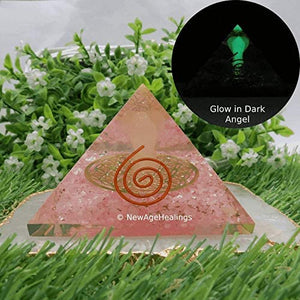 Rose Quartz Orgone Pyramid - Orgonite Pyramids with Glow in The Dark Angel 70mm