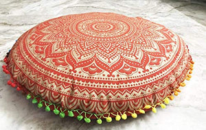 Fashions Tapestry Ombre Psychedelic Mandala Hippie Gypsy Bohemian Beach Throw Room Decoration Floor Pouf Ottoman Cotton Cushion Cover Case - BohoEntice