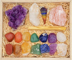 Deluxe Healing Crystals Gift in Wooden Box - 7 Chakra Set Tumbled & Raw Stones, Rose Quartz, Amethyst Cluster, - BohoEntice