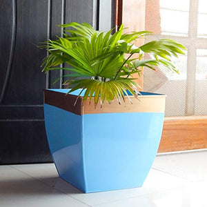 Set of 2 - 12 inches Black Metal Planter  | Indoor Outdoor Balcony Tapered Plant Pot | Home Garden Office Flowering Container Cover: Garden & Outdoors