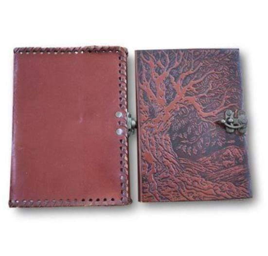Pair of two Vintage Leather Embossed Blank Pages Journal Personal Notebook Dairy - BohoEntice