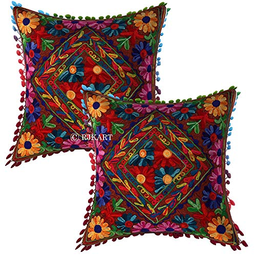 Cotton Suzani Embroidery Decorative Beige Cushion Covers with Pom Pom 16x16 Inch - Set of 2 - BohoEntice