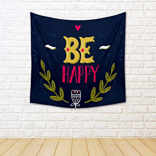 Be Happy D2 Satin Tapestry Wall Hanging 18 X 18Inch - BohoEntice