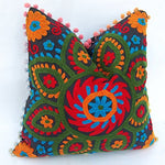 Floral Cotton Suzani Embroidery Handmade Cushion Cover - BohoEntice