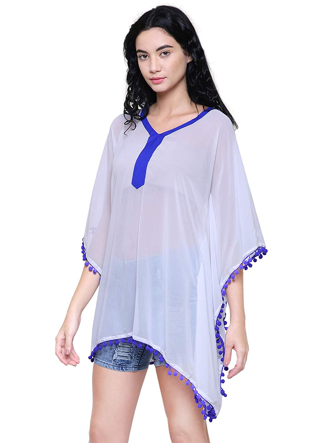 Kaftan Top with Pom Pom Lace for Women - BohoEntice