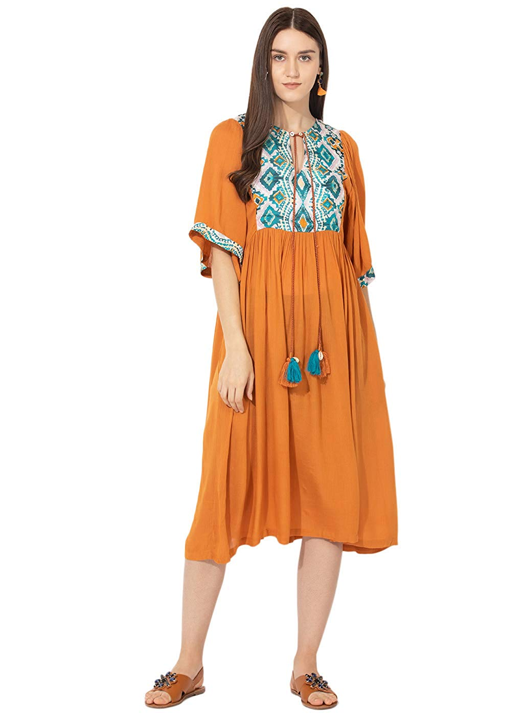 Vajor Women's Cotton A-Line Dress - BohoEntice