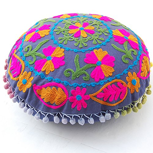 Pom Pom Uzbek Traditional Suzani Embroidered Cotton Round Cushion Covers - BohoEntice