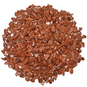 1 lb of Polished Goldstone Rock Chips - Tumbled Stones for Vases, Fountains, Art and Crafts, Jewelry Making, Crystal Healing and More - BohoEntice