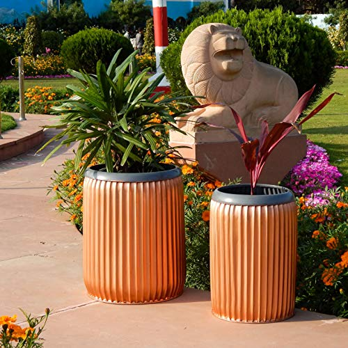 Round Dolly Iron Planter Pot | Indoor Outdoor Home Decor Barrel Plant Pot Set | Garden Modern Large Metal Container (Set of 2 - Copper) : Garden & Outdoors, Home Decor