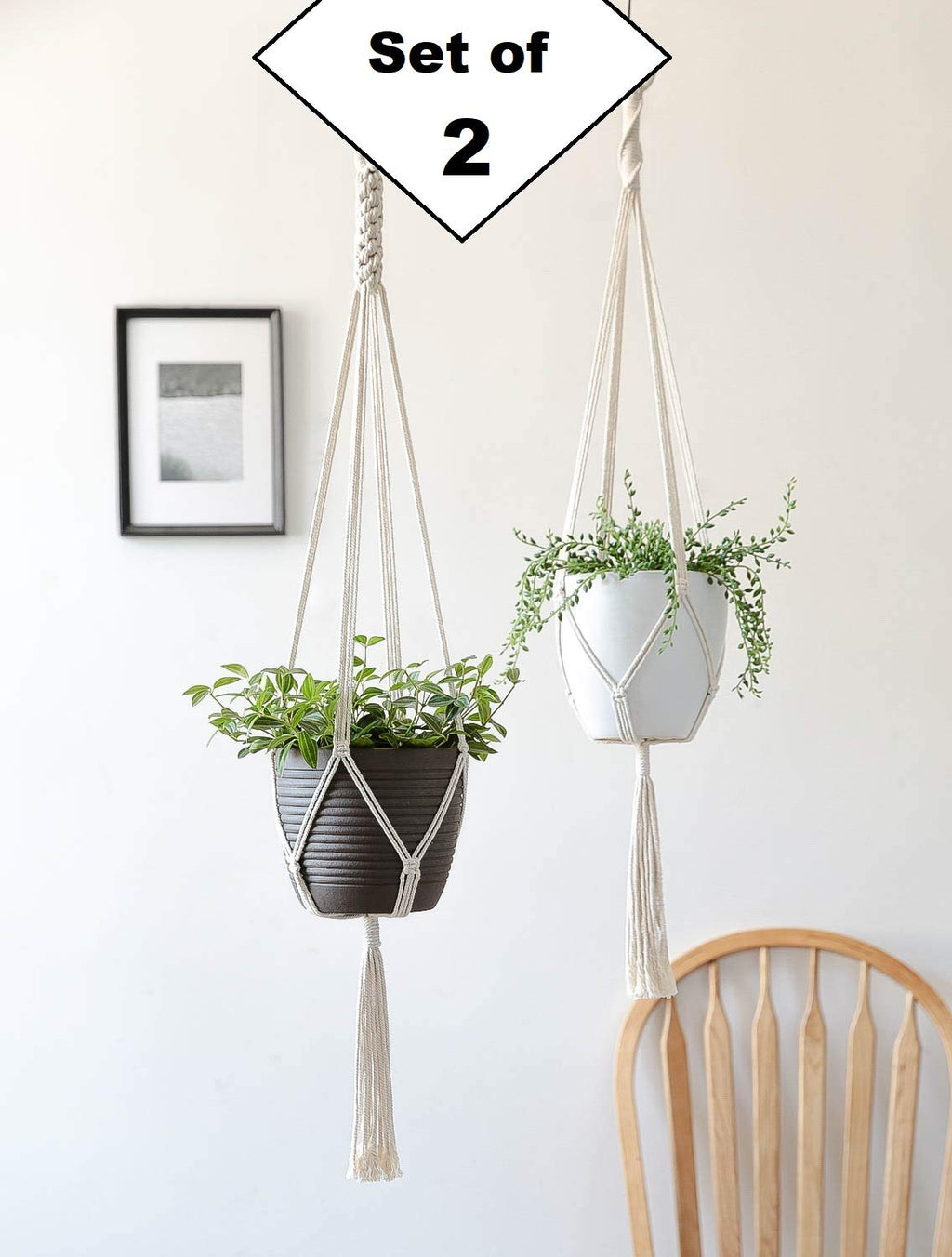 Set of 2 - Macrame Cotton Plant Hanger | Boho Decor, Rope Flower Pot Holder for Indoor Outdoor Balcony Garden | Home Decor