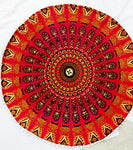 red peacock mandala floor pillow covers round bohemian cushion cover ottoman pouf cover - BohoEntice