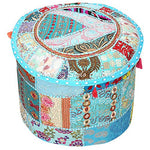 Indian Pouffe Footstool Cover Round Patchwork Embroidered Pouf Ottoman Cover - BohoEntice
